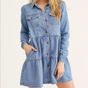 Free people Nicole denim shirt dress size small
